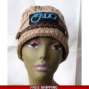 Beige Woman Winter Hat W & B Front Logo