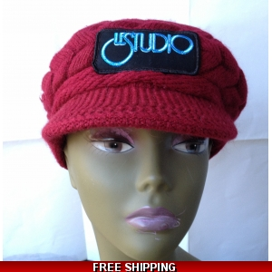 Burgundy Woman Winter Cap W & B Front Logo