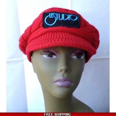 Red Woman Winter Cap W & B Front Logo