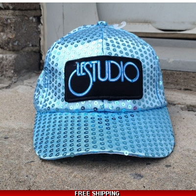 Le Studio Light Blue Sparkle Baseball Hat W & B Front Logo