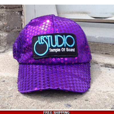 Le Studio Purple Sparkle Baseball Hat W & B  Front Logo TOS