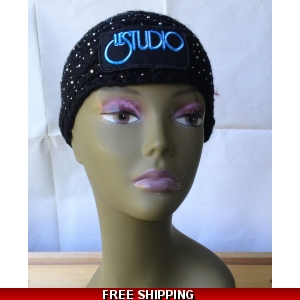 Black Sparkle Woman Winter Headband  W & B Front Logo