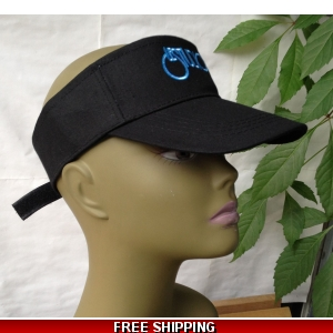 Unisex Black Sun Visor Hat White & Blue Logo