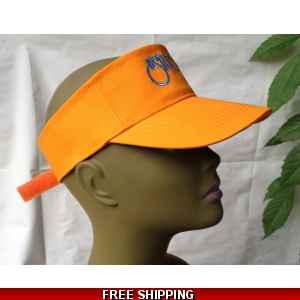 Unisex Orange Sun Visor Hat White & Blue Logo