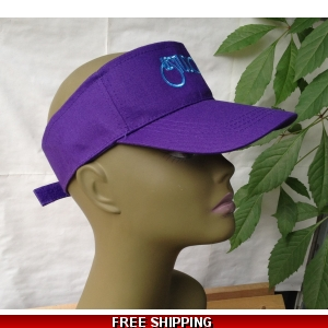 Unisex Purple Sun Visor Hat White & Blue Logo
