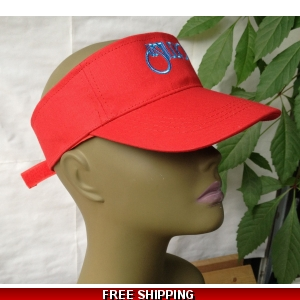 Unisex Red Sun Visor Hat White & Blue Logo