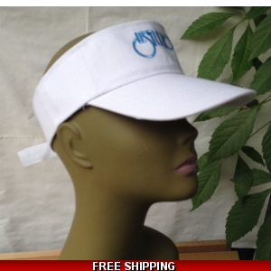 Unisex White Sun Visor Hat Black & Blue Logo
