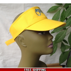Unisex Yellow Sun Visor Hat White & Blue Logo