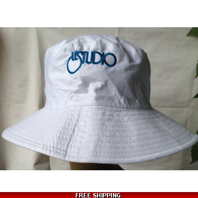 White Beach Hat Black & Blue Embroid Front Logo