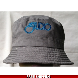 Grey Fisherman Hat Black & Blue Embroid Front Logo