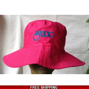 Pink Fisherman Hat Black & Blue Embroid Front Logo