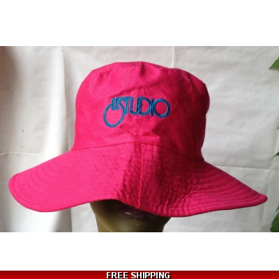Pink Beach Hat Black & Blue Embroid Front Logo