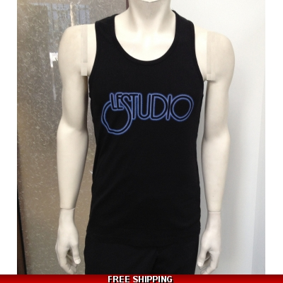 Le Studio Men Black Tank Top Blue Neon Fx Front Logo N/C