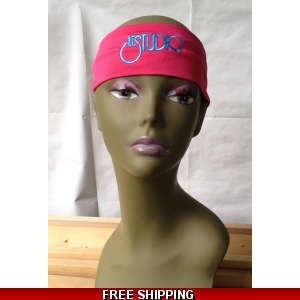 Hot Pink Unisex Headband White & Blue Embroid Front Logo