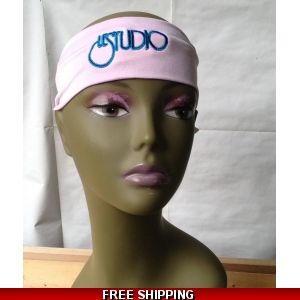 Pink Unisex Headband Black & Blue Embroid Front Logo