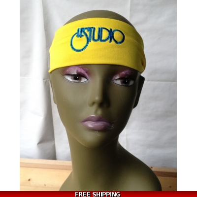 Yellow Unisex Headband Black & Blue Embroid Front Logo
