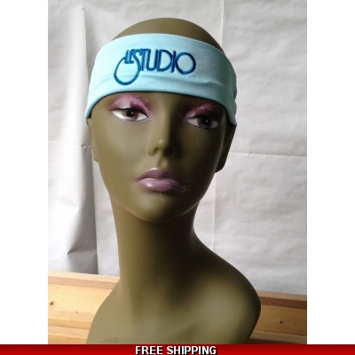 Sky Blue Unisex Headband Black & Blue Embroid Front Logo