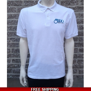 Le Studio White Gildan Polo Shirt {Black & Blue Embroidered Front Logo}