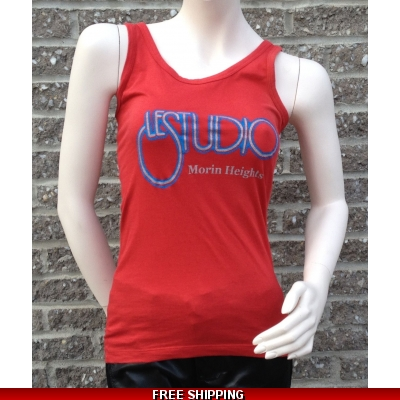 Woman Red Tank Top Silver & Blue Front Logo M/H
