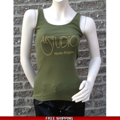 Woman Army Green Tank Top Gold Front Logo M/H