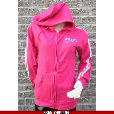 Pink Zipper Hoodie White & Blue Front Logo M/H