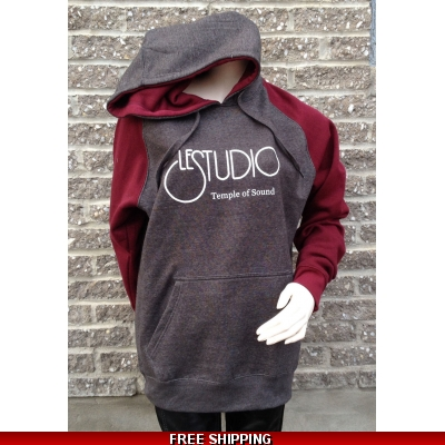 Grey and Burgundy Hoodie White Front Logo TOS