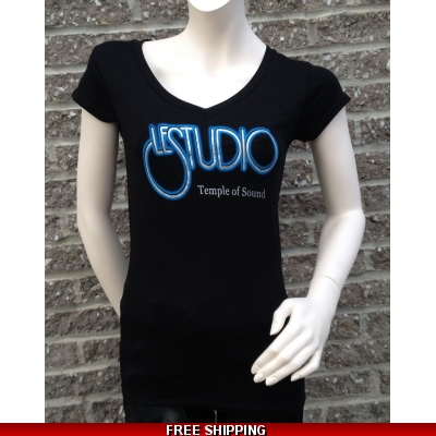 Girlie Shirt Black V Neck Silver & Blue Front Logo TOS