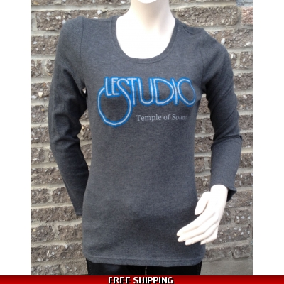 Girlie Grey Long sleeves R-Neck Silver & Blue Front Logo TOS