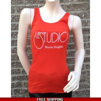 Woman Red Tank Top White Front Logo M/H