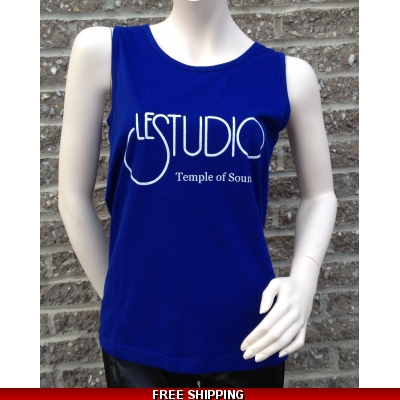 Woman Blue Tank Top White Front Logo TOS N/C