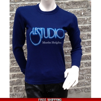 Girlie Navy Blue Long sleeves R-Neck Silver & Blue Front Logo M/H