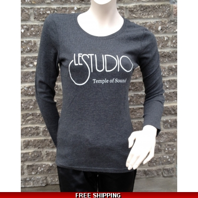 Girlie Grey Long sleeves R-Neck White Front Logo TOS