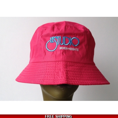 Hot Pink Bucket Beach Hat White & Blue Embroid Front Logo M/H