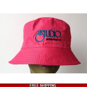 Hot Pink Bucket Beach Hat Black & Blue Embroid Front Logo M/H
