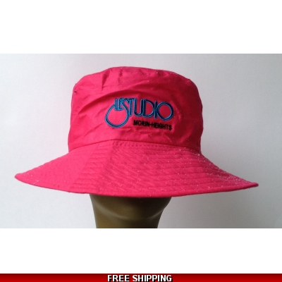 Pink Beach Hat Black & Blue Embroid Front Logo M/H