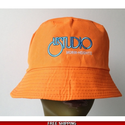 Orange Bucket Beach Hat White & Blue Embroid Front Logo M/H