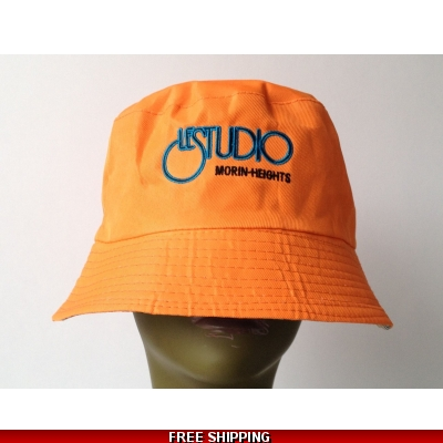 Orange Bucket Beach Hat Black & Blue Embroid Front Logo M/H