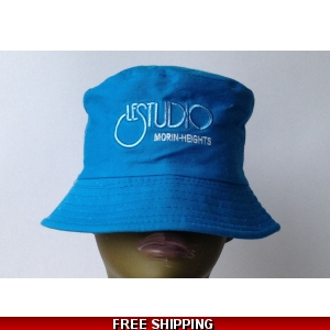 Small Sky Blue Bucket Beach Hat White & Blue Embroid Front..