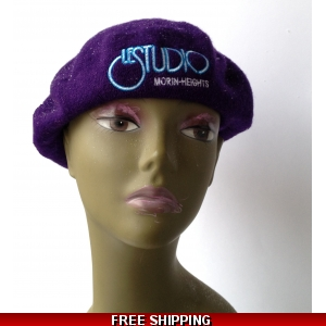 Wool Purple French Beret White & Blue Embroid Logo M/H