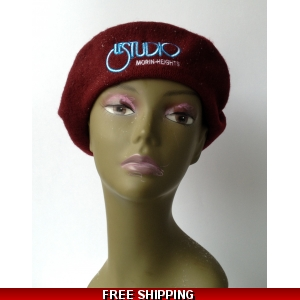 Wool Burgundy French Beret White & Blue Embroid Logo M/H