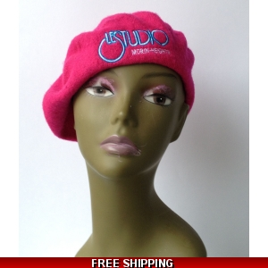 Wool Hot Pink French Beret White & Blue Embroid Logo M/H