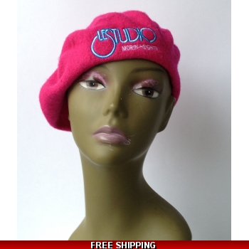 Wool Hot Pink French Beret W..