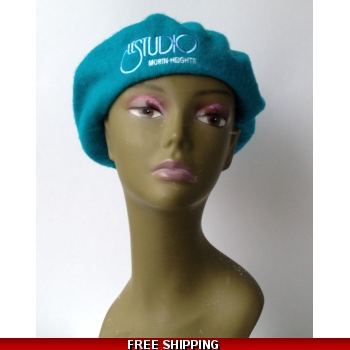 Wool Teal French Beret White..