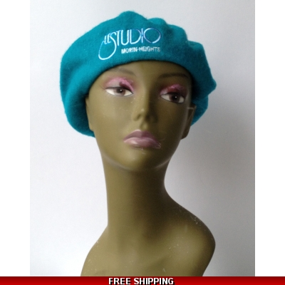 Wool Teal French Beret White & Blue Embroid Logo M/H