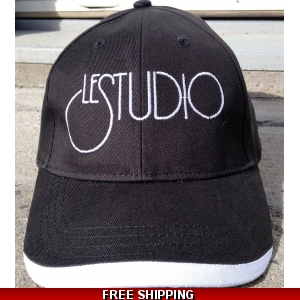 Le Studio Black Baseball Hat White Front Logo
