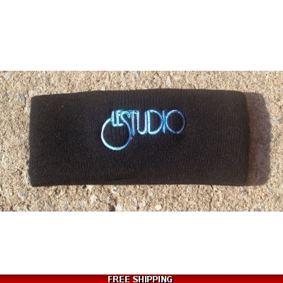 Le Studio Small Black Winter Headband W & B Front Logo