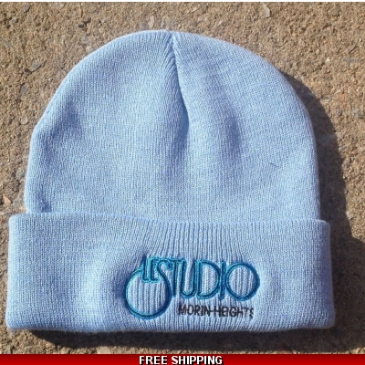 Le Studio Sky Blue Winter Hat Black & Blue Front Logo M/H