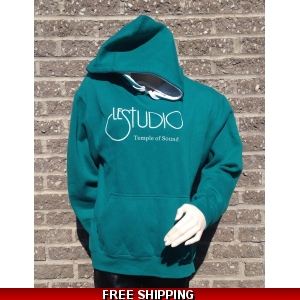 Green Hoodie White Front Logo
