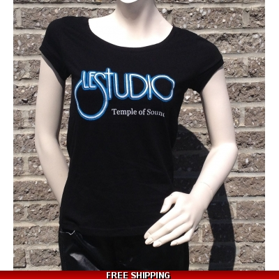 Girlie Black Round-Neck W&B Front Logo