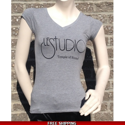 Girlie Shirt Grey V Neck Black Front Logo TOS